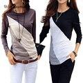 Plus Size S-XXL Moda Outono Mulheres Blusa Camisas Blusas Femininas Blusas de Algodão Casual O Pescoço de Manga Longa de Algodão Mulheres Topos