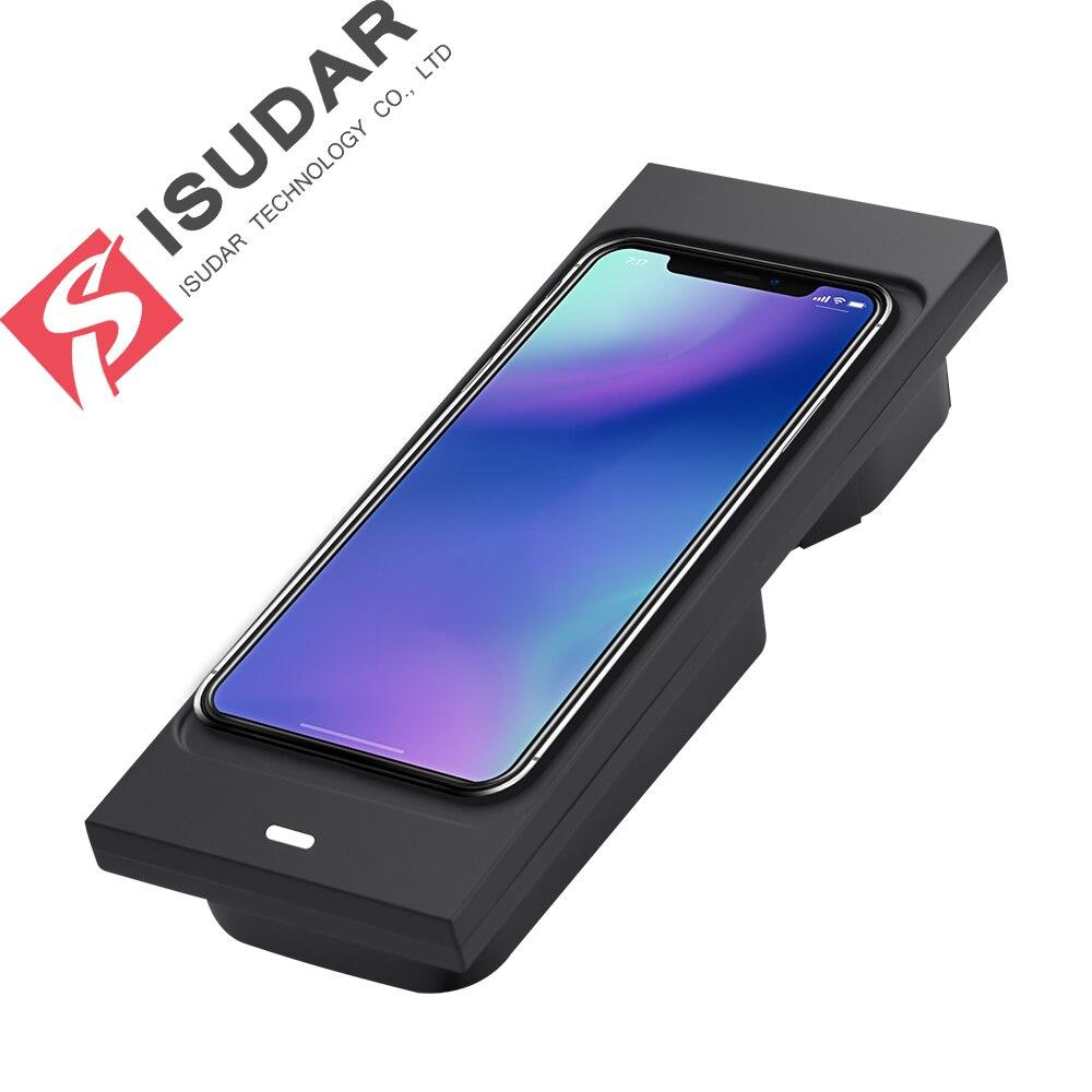 Chargeur sans fil de voiture ISUDAR 10 W Qi chargeur sans fil rapide automatique pour Volvo XC60/XC90/S90/V90 pour iphone 8 X pour Samsung pour Huawei