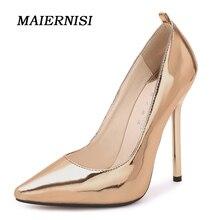 Здесь можно купить   MAIERNISI Brand Women 13CM Sexy Fetish High Heel Pumps Plus Size 35-44 Ultra Thin Blue Heels Pumps Scarpin Lady Office Shoes Women