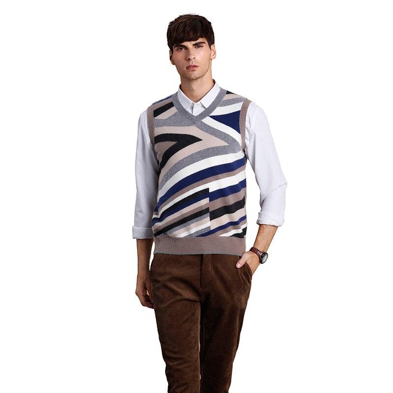 ZHILI Men's Slim Fit Vest Knit V-Neck Cashmere Sweater