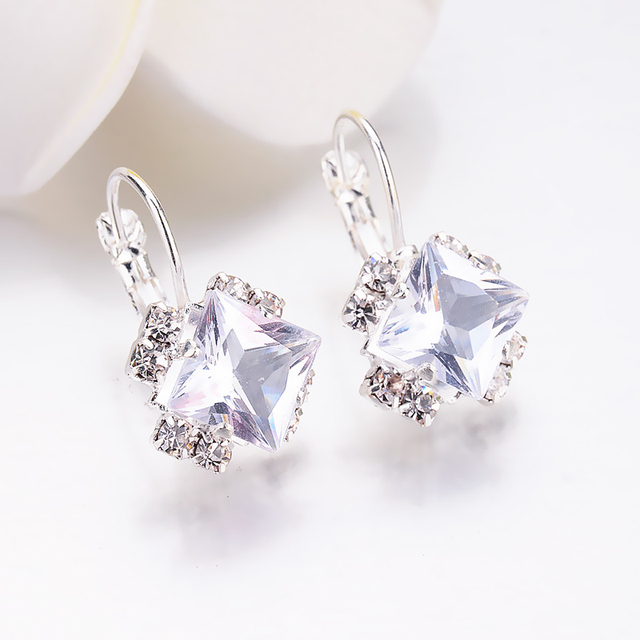 Fashion 2018 Stone Rhinestones girls White Square Crystal Drop Earrings For Wome