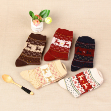 Christmas Deer Socks Women Mens Cartoon Design Casual Knit Wool Socks Winter Warm Shorts Funny Ankle Socks Meias Calcetines