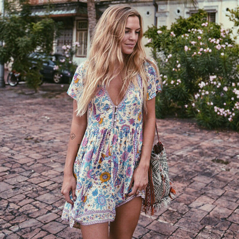Boho Short Dress For Womens