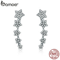 BAMOER Authentic 100 925 Sterling Silver Stackable Star Luminous CZ Drop Earrings For Women Sterling Silver