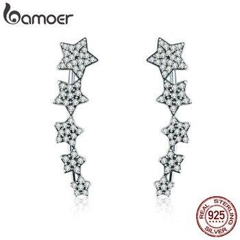 BAMOER Аутентичные 100% 925 пробы серебро стекируемые Звезды Световой CZ серьги для Для Женщин стерлингов Серебряные ювелирные изделия S925 SCE284