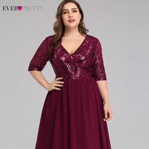 Image 5 - Vestidos de talla grande Borgoña Madre de la novia siempre Pretty EP07992BD A Line cuello pico encaje de lentejuelas Farsali elegantes vestidos para madres