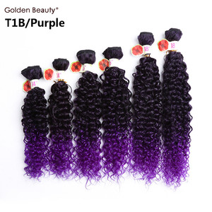 Image 3 - 14 18inch Ombre Burgundy Blonde Synthetic Weave Curly Hair Bundles Sew in Hair Extension For Black Women 6pcs/Pack Golden Beauty