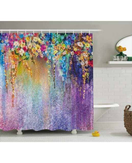 Floral Shower Curtain Blooming Flowers Artsy Print For Bathroom Waterproof And Fabric Romantic