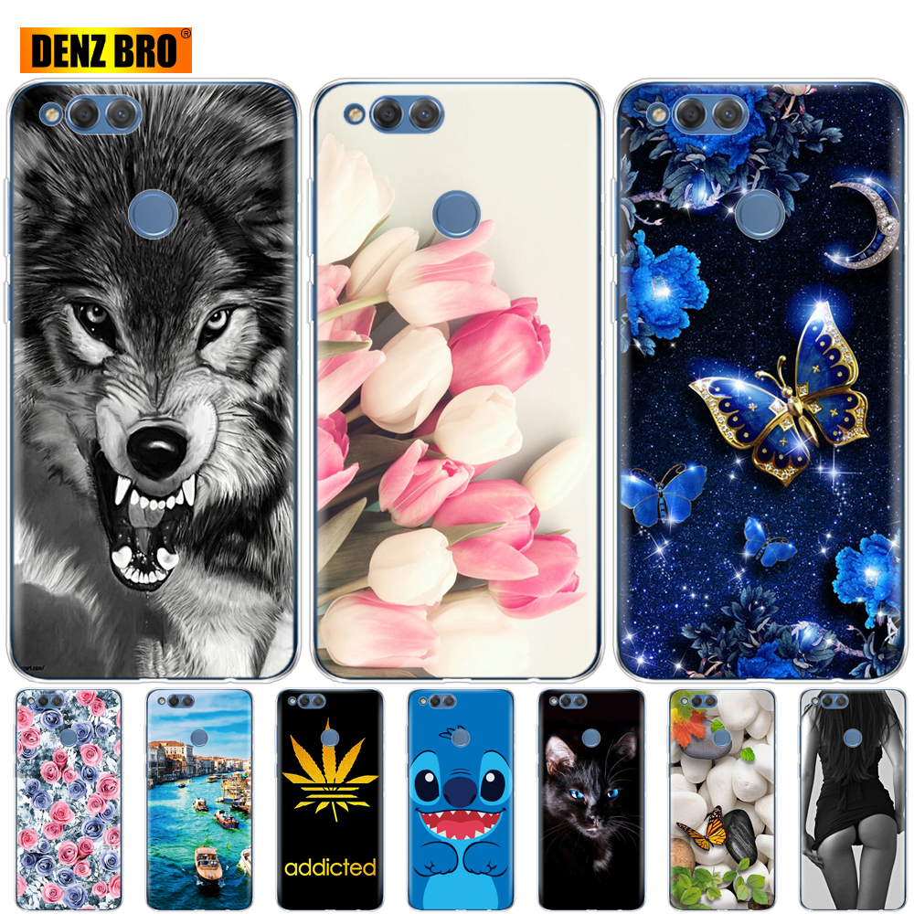 for <font><b>huawei</b></font> <font><b>honor</b></font> <font><b>7X</b></font> <font><b>case</b></font> bumper soft tpu <font><b>silicone</b></font> back cover for phone <font><b>case</b></font> 360 full protective printing transparent clear coque image