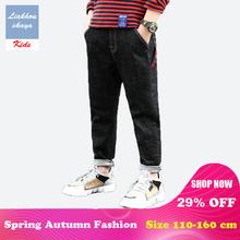 Liakhouskaya marka dla dzieci dżinsy zgrywanie dla chłopca ubrania spodnie 2019 wiosna dla dzieci ciepłe dżinsy dla chłopców nastolatków spodnie jeansowe tanie tanio Chłopcy Elastyczny pas Proste Pasuje prawda na wymiar weź swój normalny rozmiar 2019BB003 light Stałe Na co dzień