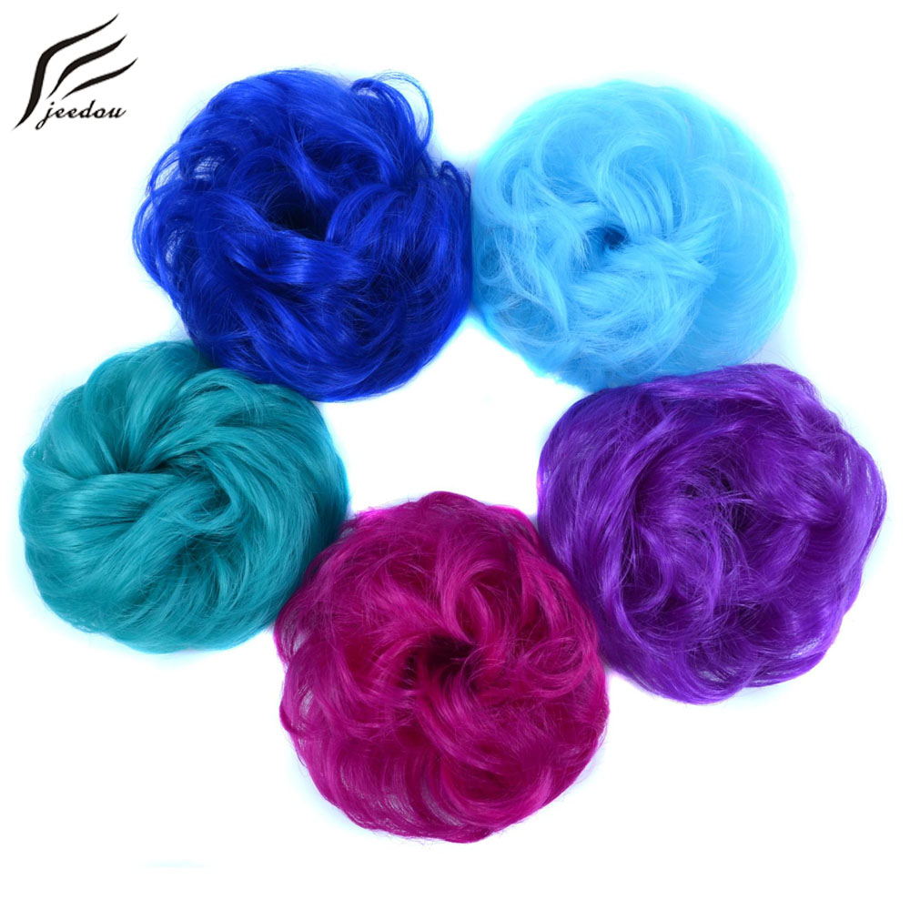 Jeedou Donut Hair Bun Ring Curly Chignon With Rubber Band Heat Resistance Synthetic Women's Hairpieces Blue Color