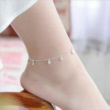 TJP Cute Heart Girl Silver Bracelets Jewelry New Fashion 925 Silver Anklets For Women Jewelry Trendy Female Lady Christmas Gift