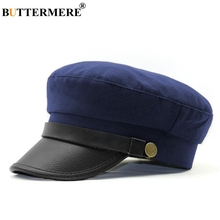 BUTTERMERE Navy Military Hat Women Men Baker Boy Cotton Leather Patchwork Army Captain Sailor Flat Cap 2019