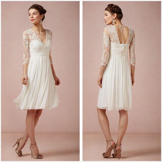 Clásico vestido de boda blanco de playa Encaje applique V ...
