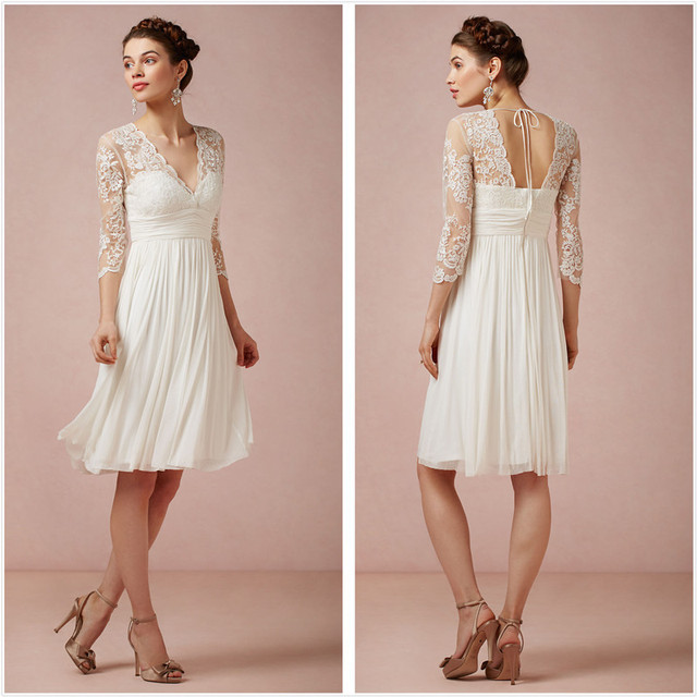 413d013226 Classical White Beach Wedding Dress Lace Applique V Neck Half Sleeve Knee  Length Chiffon Formal Bridal Gowns Plus Size