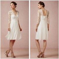 Classical White Beach Wedding Dress Lace Applique V Neck Half Sleeve Knee Length Chiffon Formal Bridal