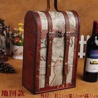 DIY Handgemaakte Rode wijnfles box Dubbele Rode Wijn Opslag doos Vintage Lederen Verpakking kerstcadeau Voor Vriend Houten doos