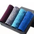 4 Unids/lote Hombres Boxers Modal Tela Cómoda Transpirable Calzoncillos Ropa Interior para Hombre Color Mezclado