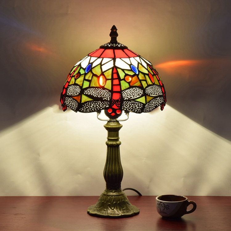 Stained Glass American Pastoral Red Dragonfly Retro Art Ornament lighting bedroom Bedside desk lamp 110-240V E27 dia20CM H36cm