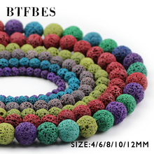 купить BTFBES Multicolor Optional Colourful Lava Beads Volcanic Rock Natural Stone 4 6 8 10 12mm Beads For Jewelry Making Bracelet DIY дешево