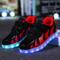STRONGSHEN Red 2018 Pink Children Shoes Light Led luminous Shoes Boys Girls Sport Shoes Casual Led Shoes Kids Glowing Sneakers