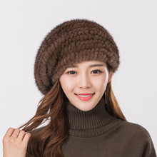 Boina chapéu de pele de alta qualidade de vison das mulheres de malha chapéu Da Forma quente mink veludo cap boina de pele de malha