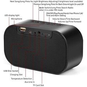 Image 5 - TOPROAD Tragbare Bluetooth Lautsprecher Unterstützung Temperatur LCD Display FM Radio Wecker Drahtlose Stereo Subwoofer Musik Player