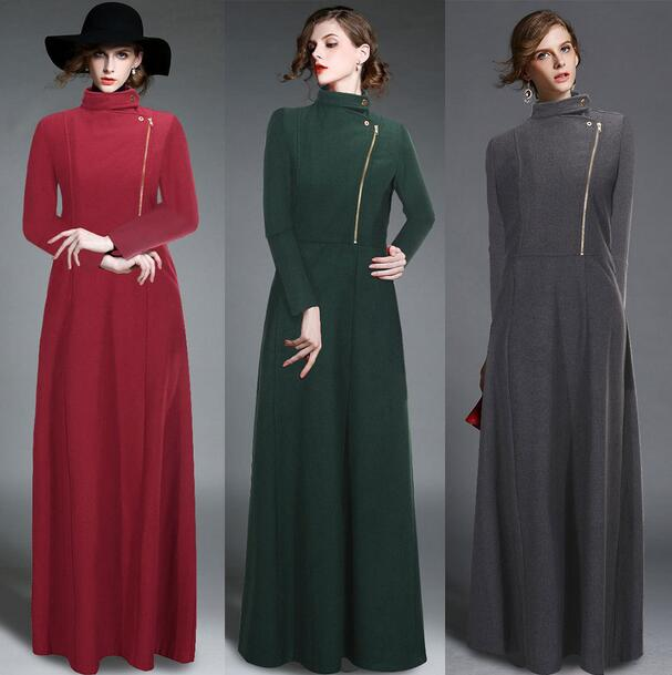 New Arrival European And Amercian Style Ultra Long Woolen Coat Women's elegant Jackets Slim Autumn Winter Coats T679