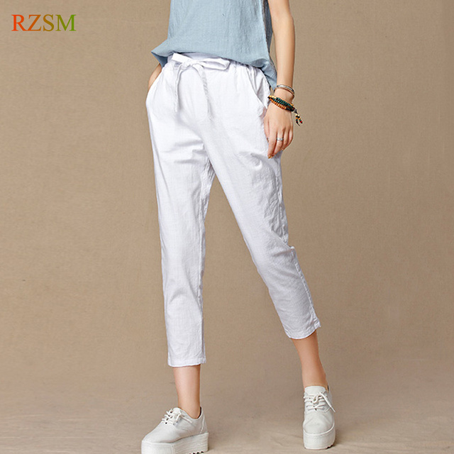 bec0434ea185c Girls Casual Harem Pants Women 2018 New Loose Cotton Linen Trousers Elastic High  Waist Vintage Female Capris Plus Size S-4XL