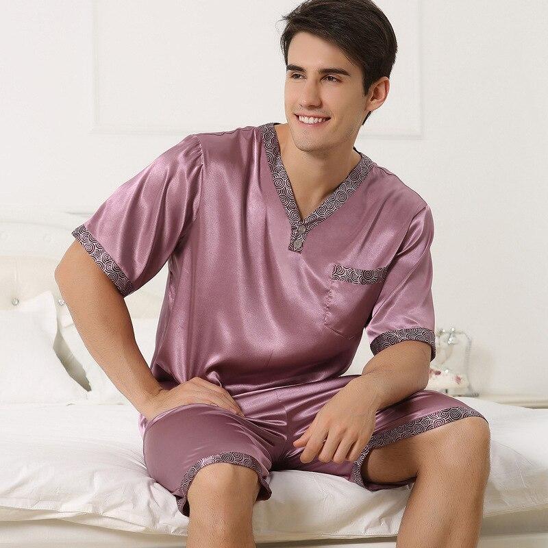 Sexy Faux Silk Men Pajamas Fashion V-Neck Ice Silk Sleepwear Male Short-Sleeve Pyjama Shorts Sets Two-Pieces Plus 4XL 2509