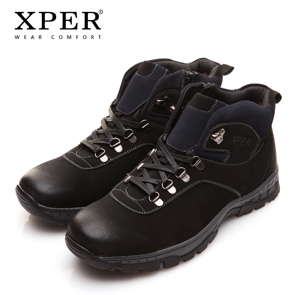 XPER Brand New Winter Men Boots Fashion Black Snow Warm Fur Men Shoes Ankle Zipper Casual Shoes Waterproof Rubber XAF86710