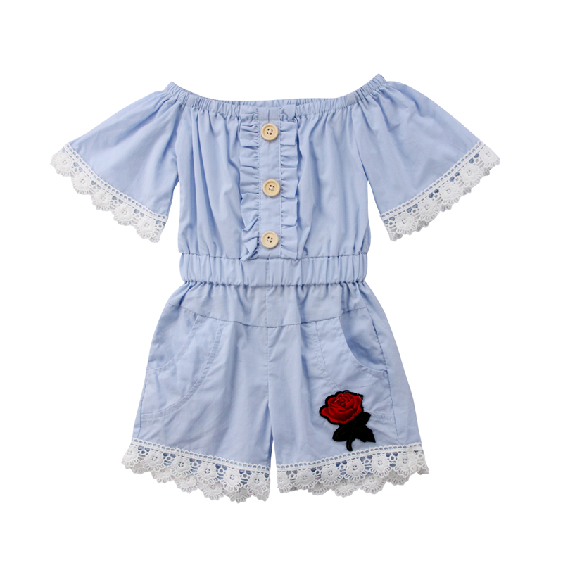 Toddler Kids Girls Bib Pants Overalls Romper Jumpsuit Clothing Baby Girl Princess Floral Lace Summer Rompers Clothes Sunsuit Top