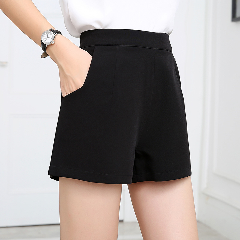 Chiffon loose high waist wide-leg shorts female thin zipper boots short large size was thin word suit culottes summer Solid Pro