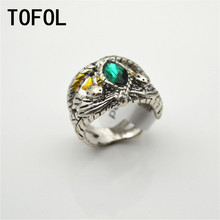 TOFOL The Lord Of Rings Men Blue Crystal Zinc Alloy Ring Aragorn Male Wedding Hollow Jewelry Fashion Gift