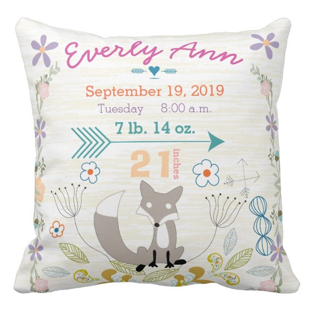 Birth Stats Baby Girl Woodland Creatures Fox Throw Pillow Cases Delectable Baby Girl Decorative Pillows