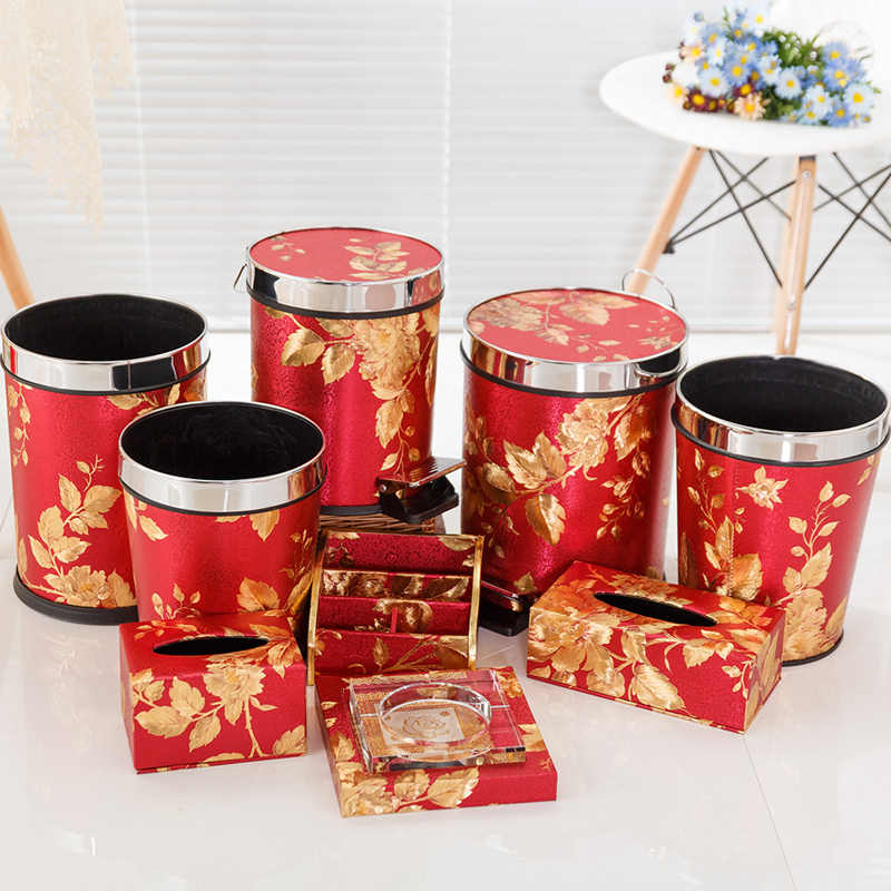 Red New Leather Satin Wallpaper Home Fashion Creative Trash Can Kitchen  Bathroom Waste Bins Pedal Waste Paper Basket