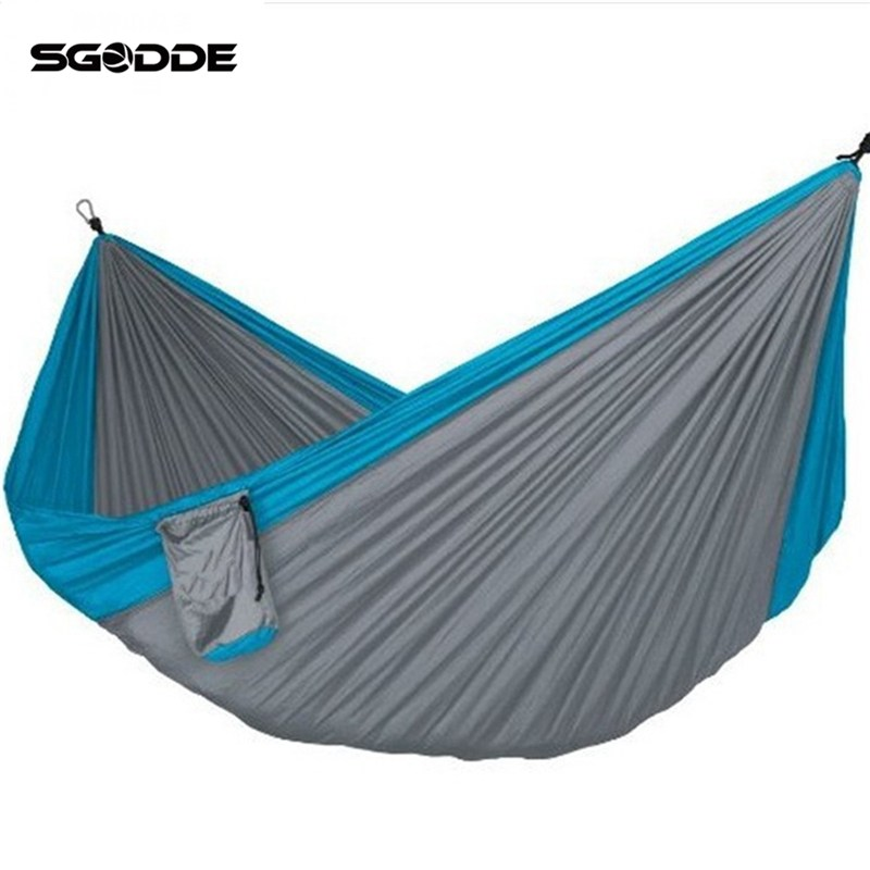 SGODDE Portable Hammock Sleep Swing Outdoor Camping Travel Yard Hanging Tree Canvas Bed Parachute Nylon Fabric