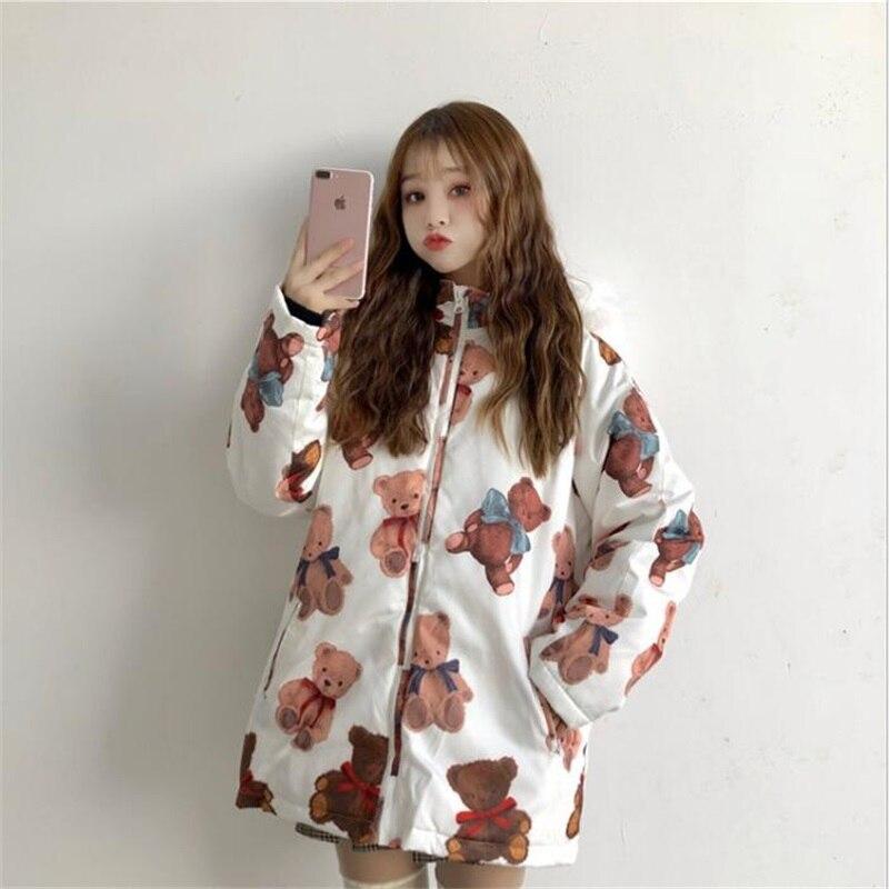 Winter Japanese Top Harajuku Kawaii Bear Print   Parkas   Cute Girl Hooded Long Down Jacket Thicken Cotton Fur collar Coat