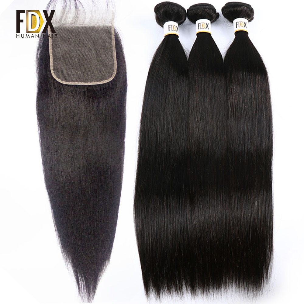 FDX Brazilian straight hair 5x5 closure with bundles human hair weave 3 bundles with lace closure