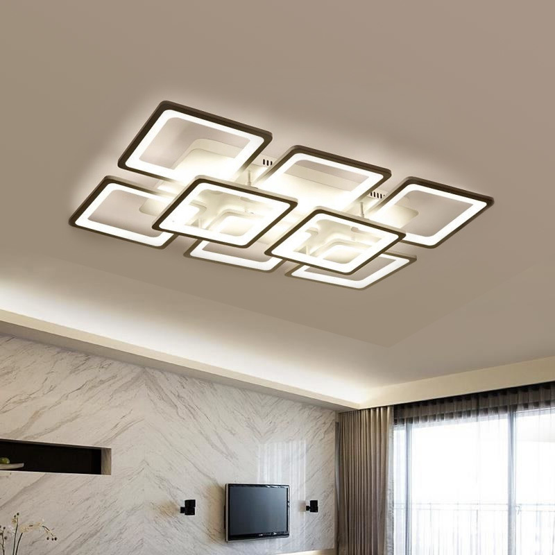 Square Black Modern Ceiling Lights Fixtures For Living Room Bedroom Home Lamp Whit Remote Control Lamparas