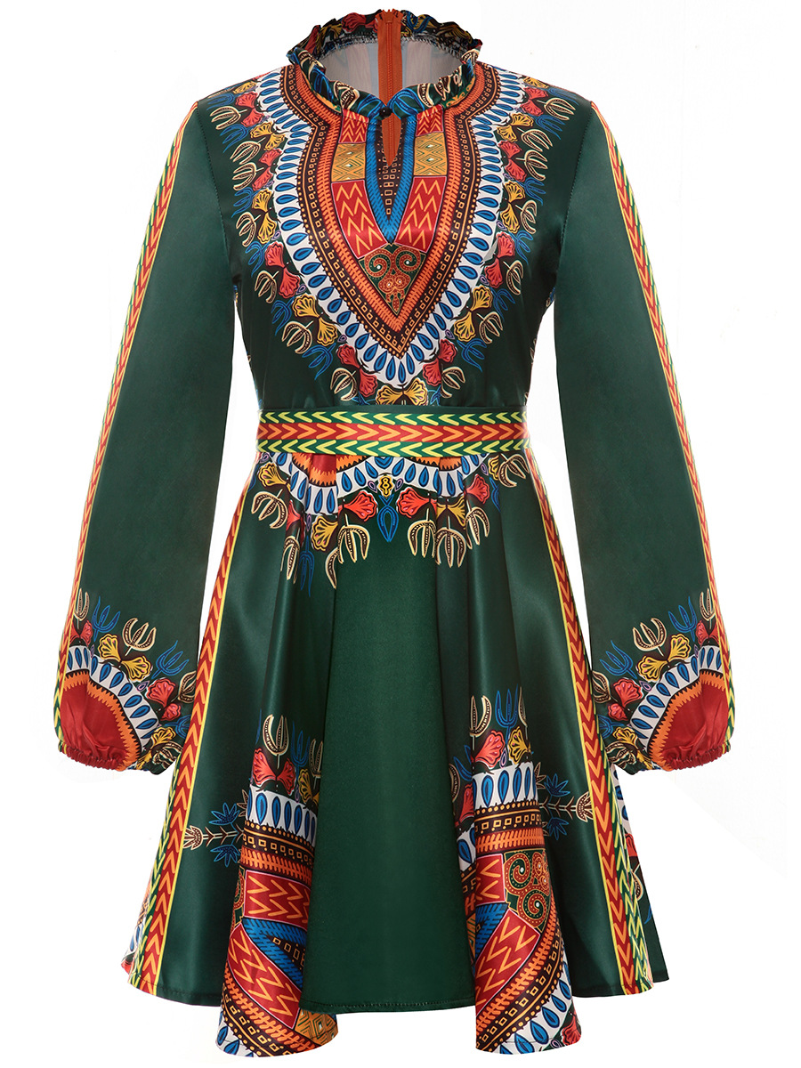 Women Summer Dress Casual 2017 Ladies Sexy African Dresses Dashiki Traditional Print Long Sleeve Mini Dress Plus Size L-3XL
