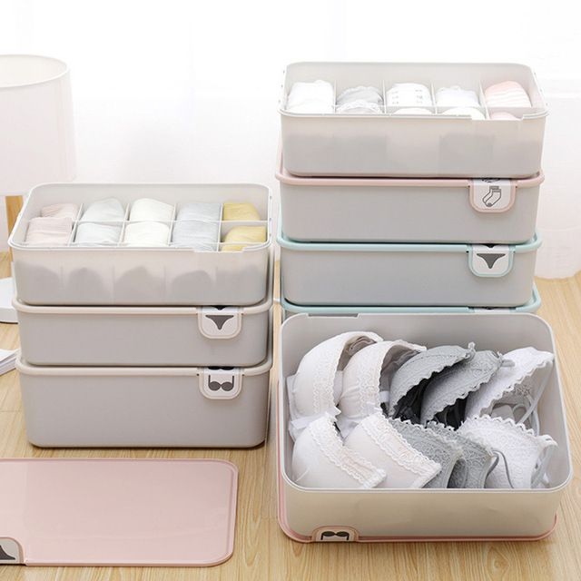 Household Plastic Underwear Storage Box with Mark Compartment Closet Organizer with Cover for Underwear Socks