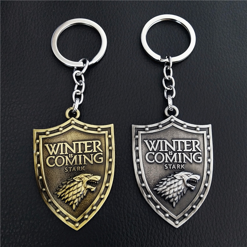 20PCS LOT Wholesale Game Of Thrones Keychain House Stark Wolf Head Badge Key Chains Pendant Keyring