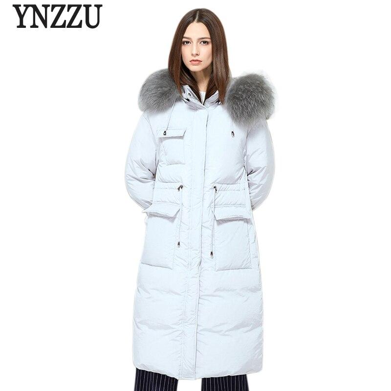 2018 Autumn Winter Women Down Jacket Elegant Long 90% White Duck Down Coat Warm Fur Collar Hooded Female Snow Overcoat AO557