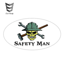 EARLFAMILY 13cm X 7.2cm Safety Man Skull Hard Hat Hammer Wrench Tool Car  Stickers ca4353405c90