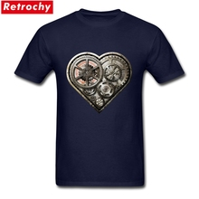 Elegant Men's Steampunk Heart T Shirt Short Sleeve 100% Cotton Retro Steam Punk Gear Graphic Tees Men