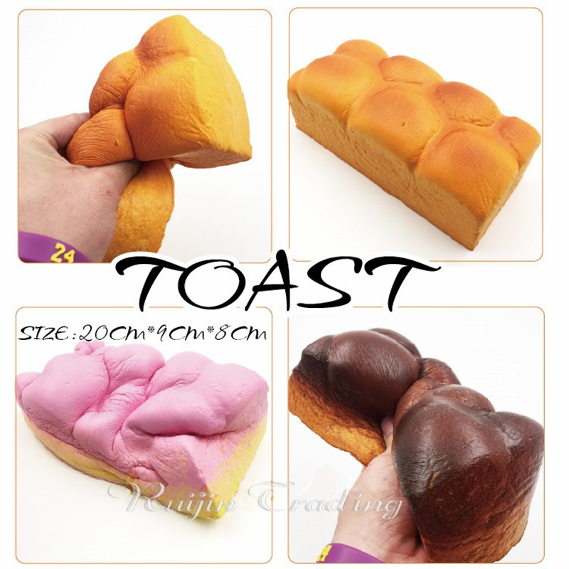 1PCS Slow Rising Jumbo 20CM Toast Bread Squishy Phone Straps Simulation Pendant Squeeze Sweet Cream Scented Kwaii Kids Toy Gift