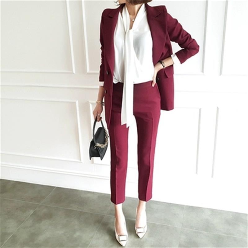 Mode pantalon costume femmes automne nouveau tempérament décontracté interview salopette entreprise petit costume OL deux pièces costume femmes taille S-2XL