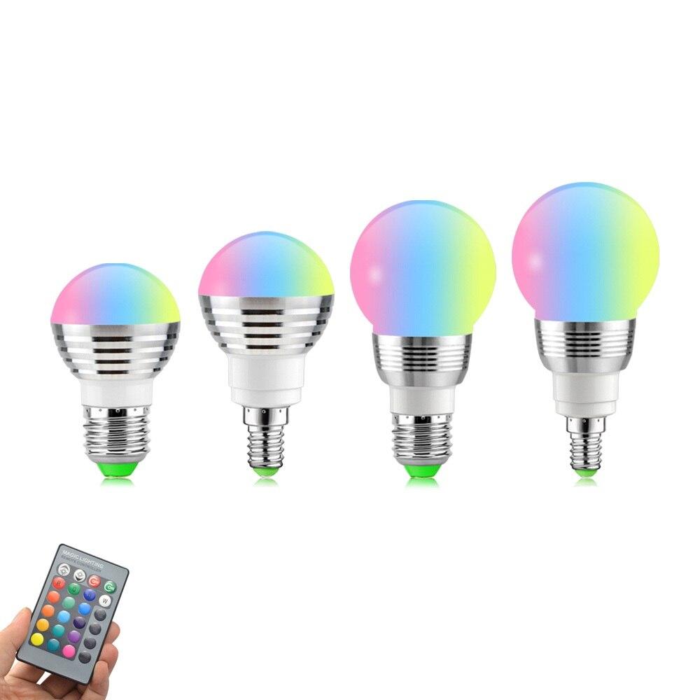 E14 E27 RGB LED Light Bulb With Remote Control Bombillas LED Lamp Smart Bulb AC 85V-265V Ampoule LED Bulb 5W 7W