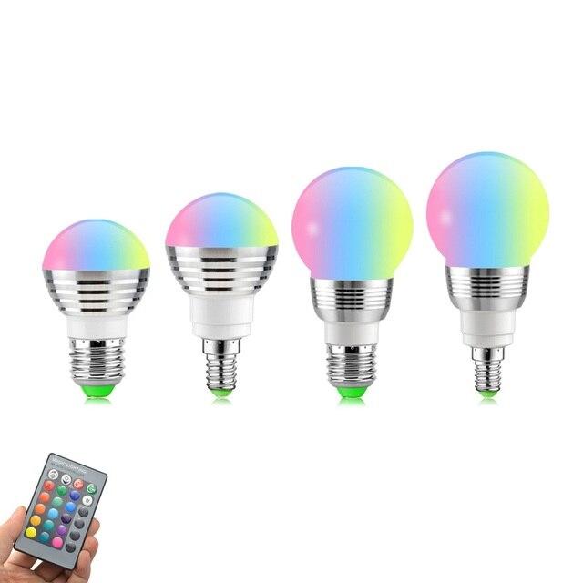 E14 E27 RGB LED ışık uzaktan kumanda ile ampul Bombillas LED lamba akıllı ampul AC 85V 265V ampul LED ampul 5W 7W